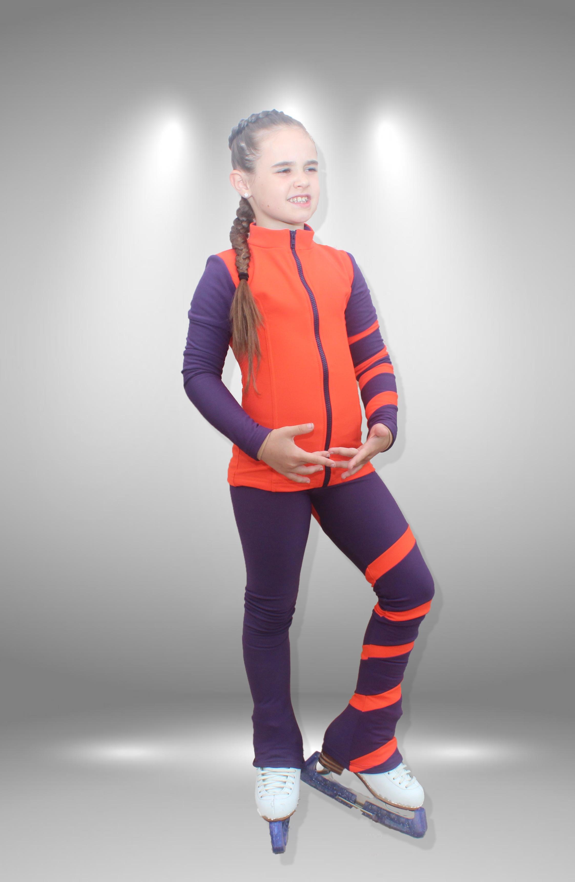 """Термо костюм для фигурного катания """"Лента"""" фиолетово-персиковый"""