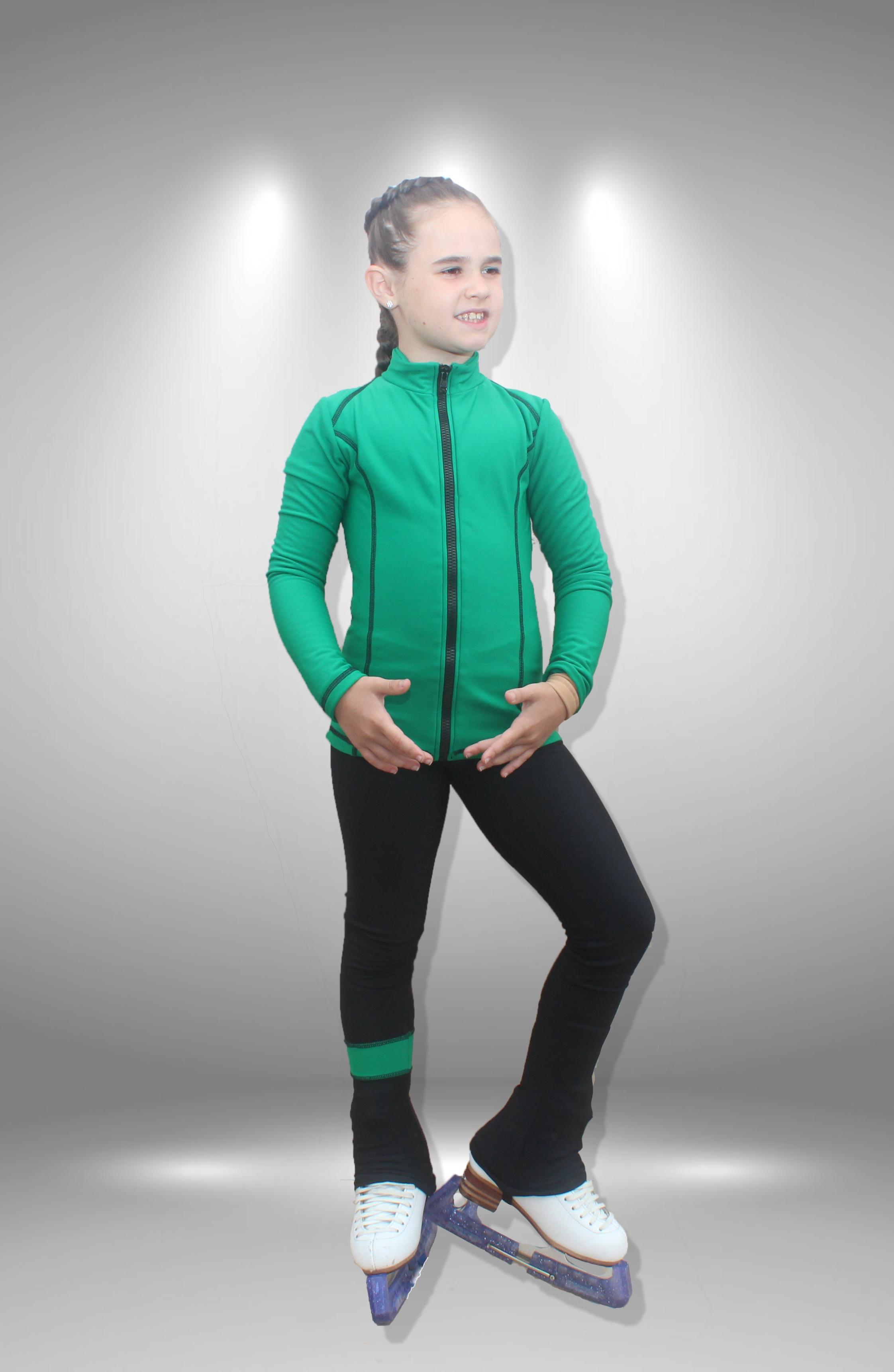 """Термо костюм  для фигурного катания """"Мечта"""" черно-зеленый"""