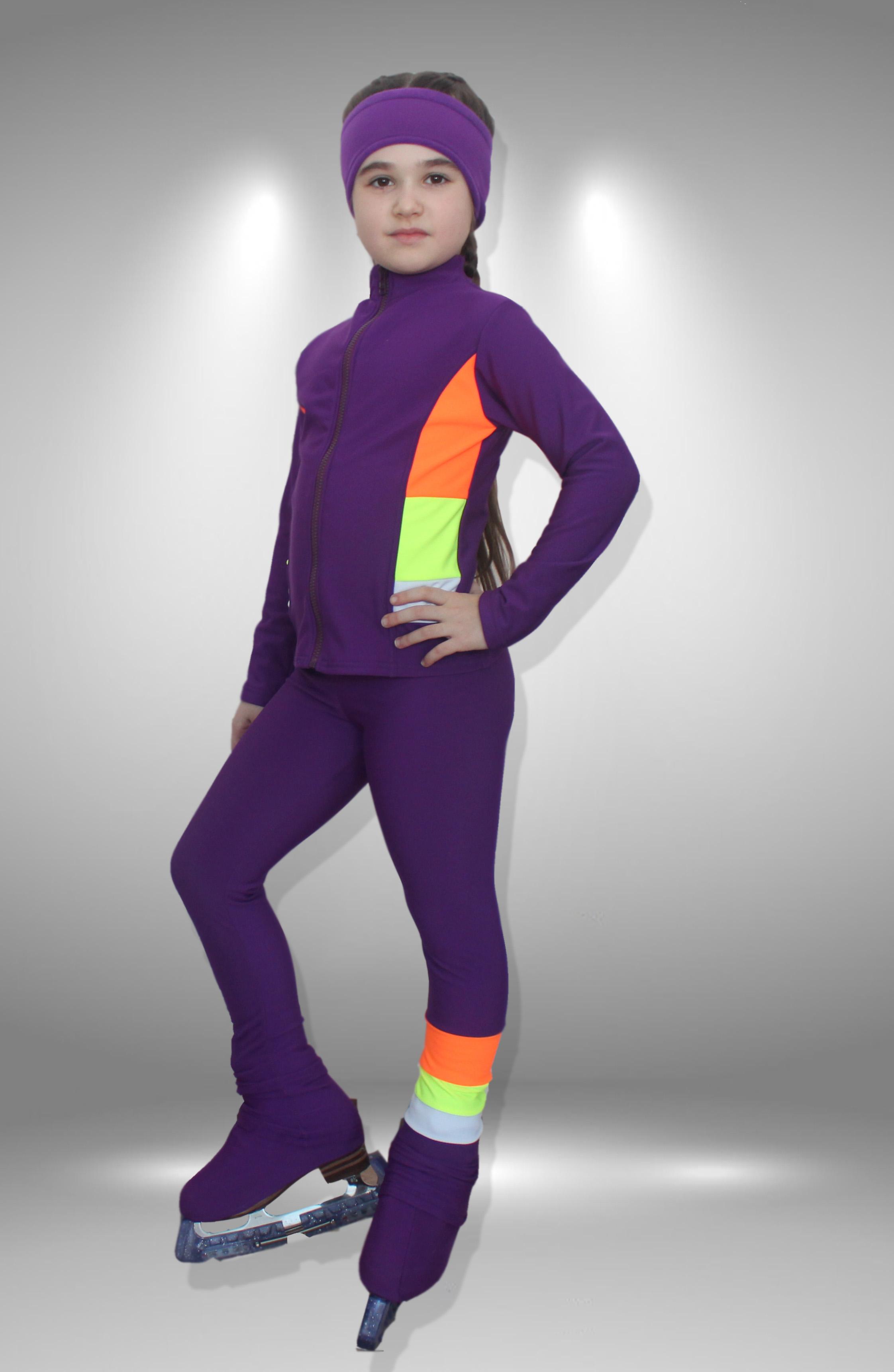 """Термо костюм для фигурного катания """"Радуга"""" фиолето-оранжевый"""