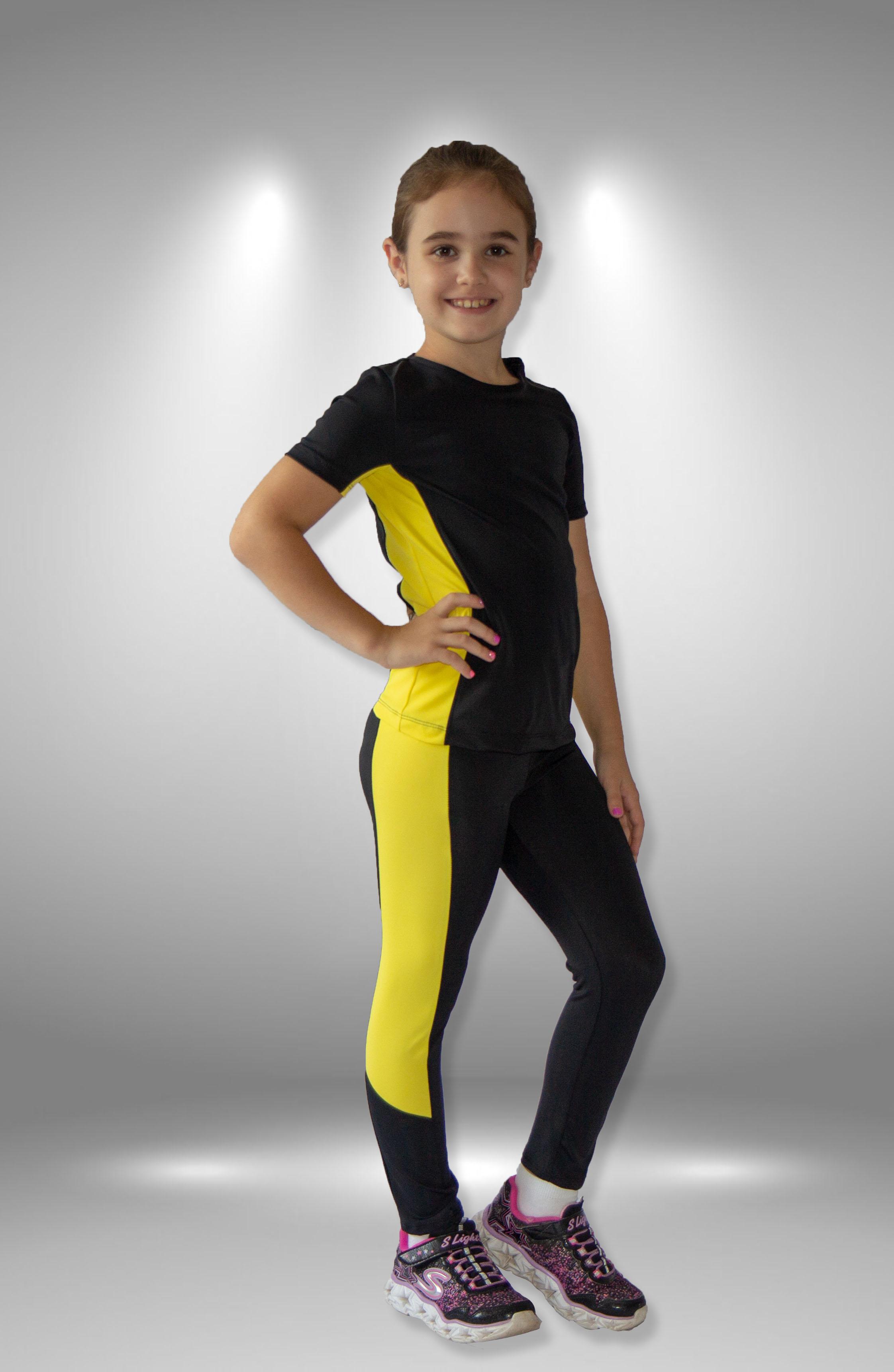 """Легинсы """"Энергия"""" черно-желтые для фигурного катания"""