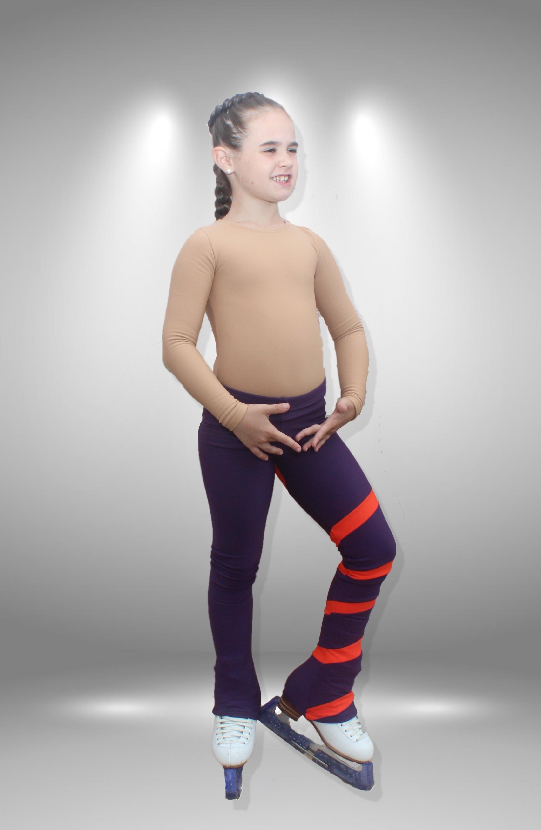 """Термо брюки для фигурного катания """"Лента"""" фиолетово-персиковый"""