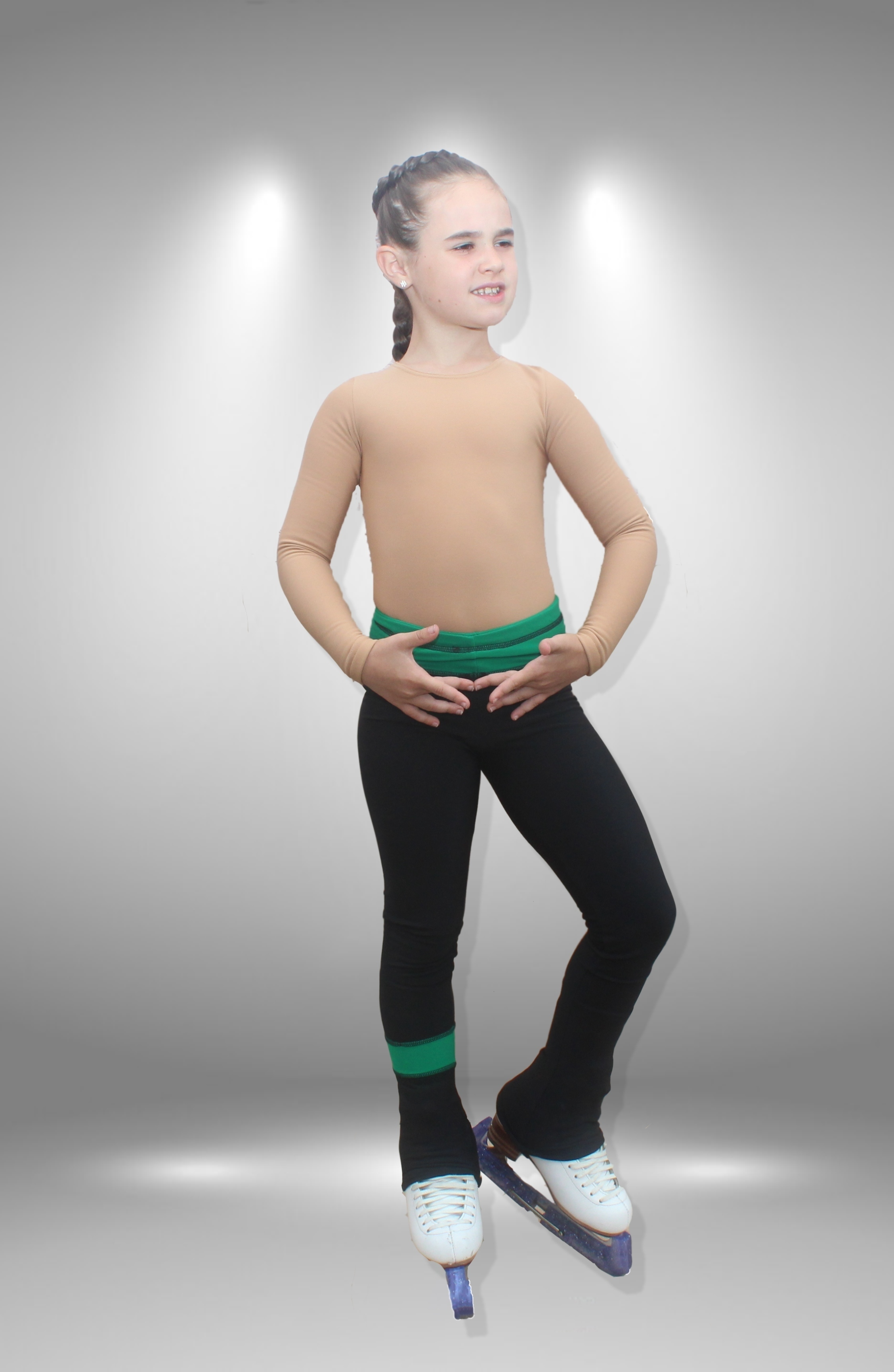 """Термо брюки для фигурного катания """"Мечта"""" черно-зеленые"""