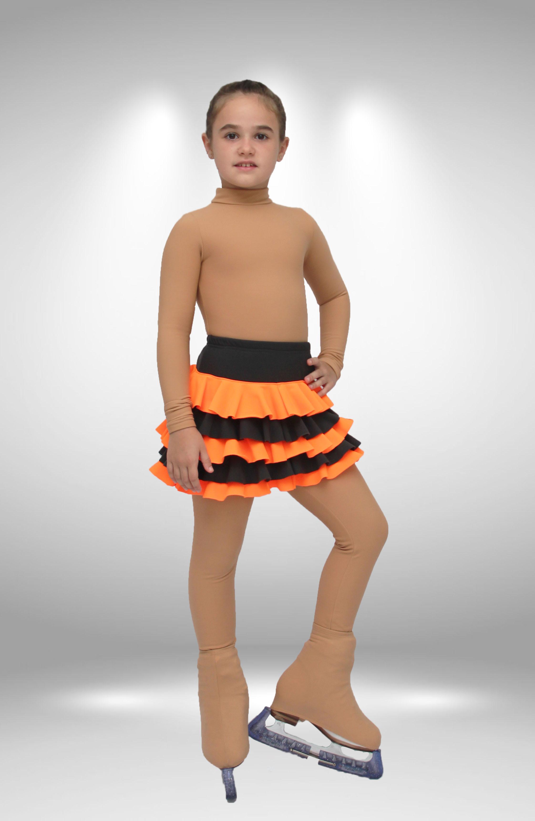 """Термо юбка  """"Румба"""" для фигурного катания серо оранжевая"""