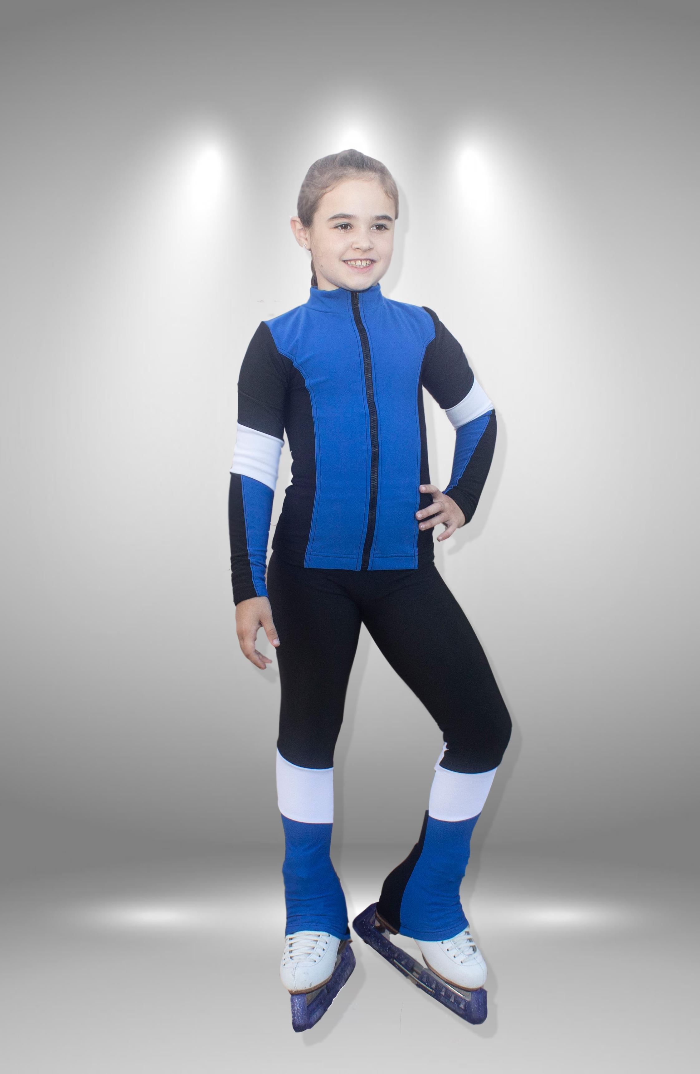 "Термо костюм для фигурного катания ""Калинка"" черно-синий"