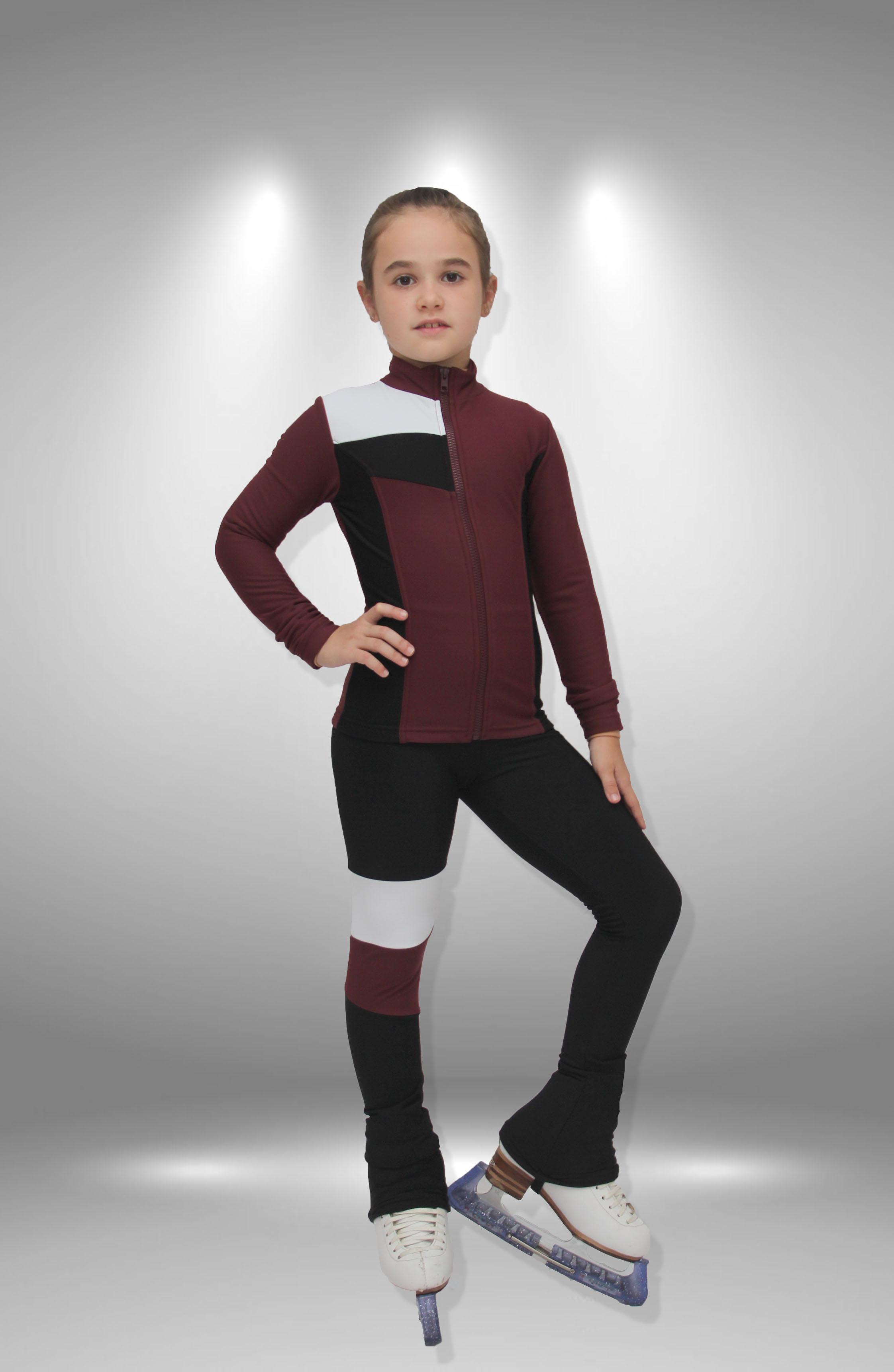 """Термо костюм для фигурного катания """"Лабиринт"""" черно-бордовый"""