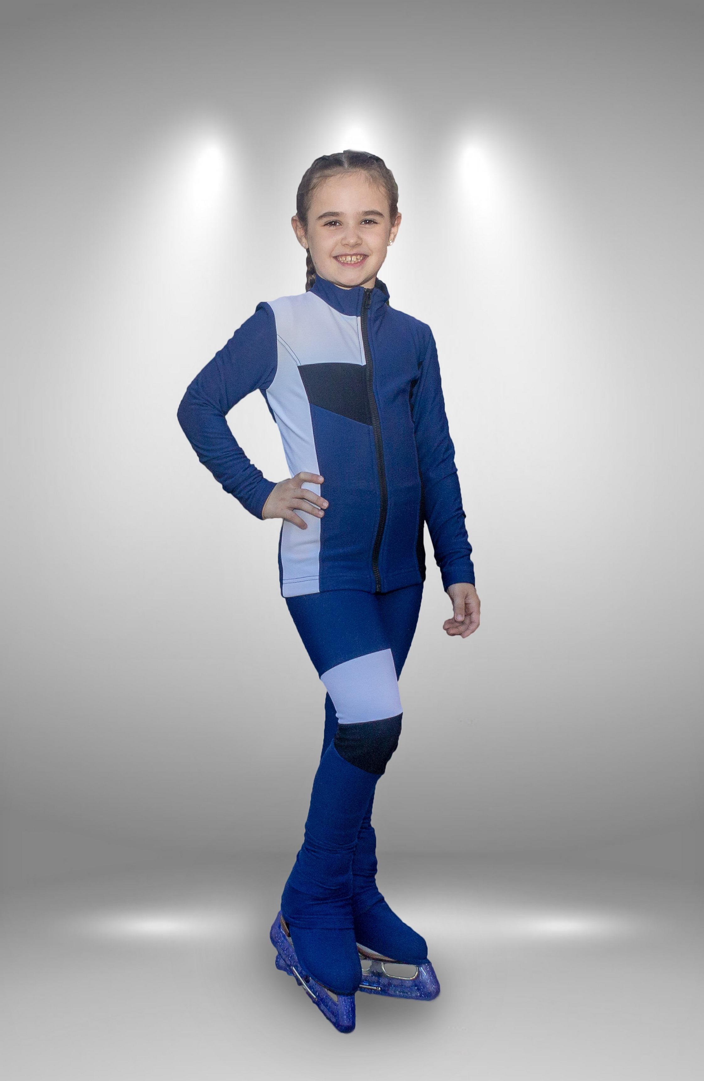 """Термо костюм для фигурного катания """"Лабиринт"""" сине-белый"""