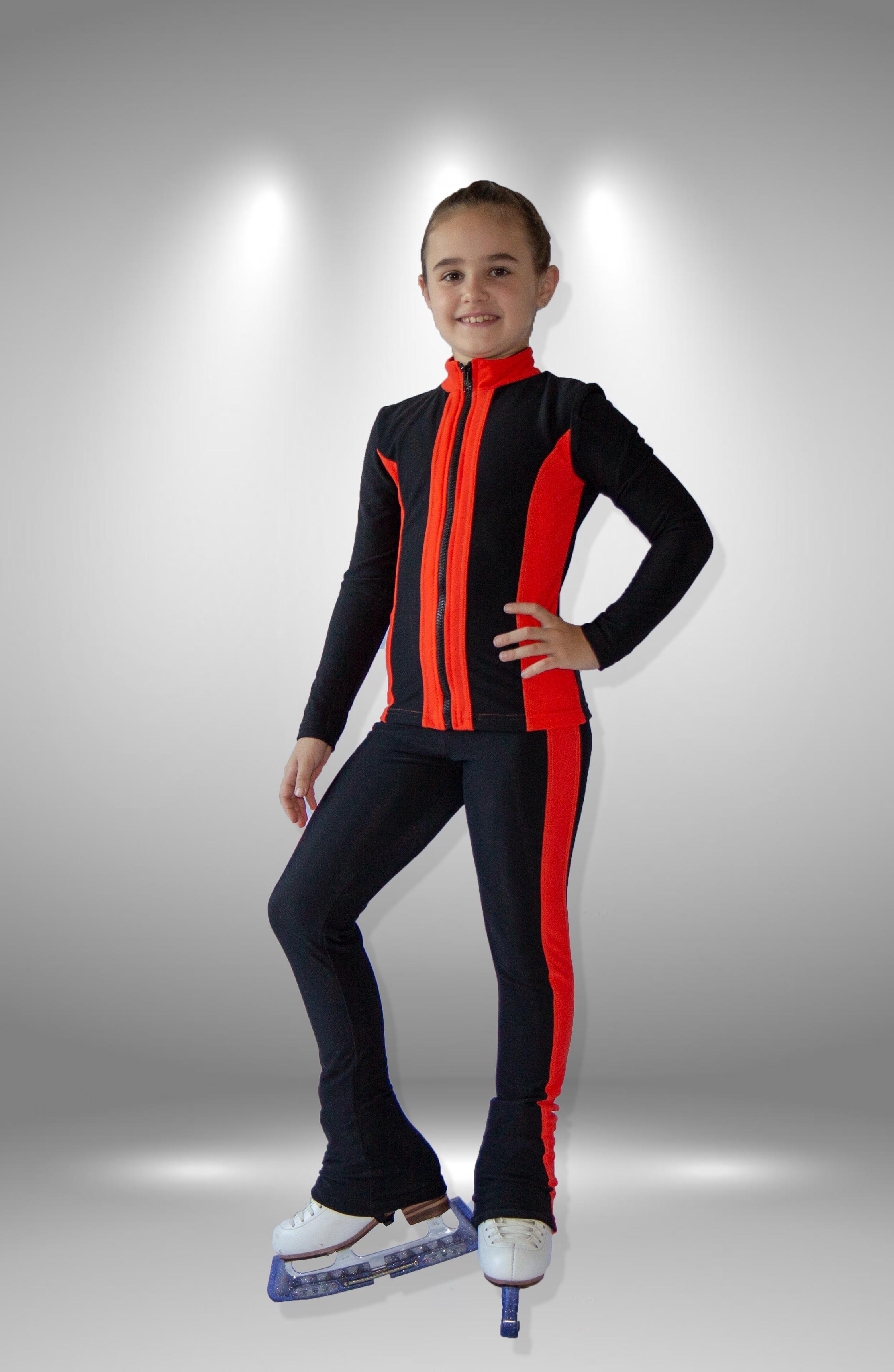 """Термо костюм  для фигурного катания """"Вертикаль"""" черно-персиковый"""