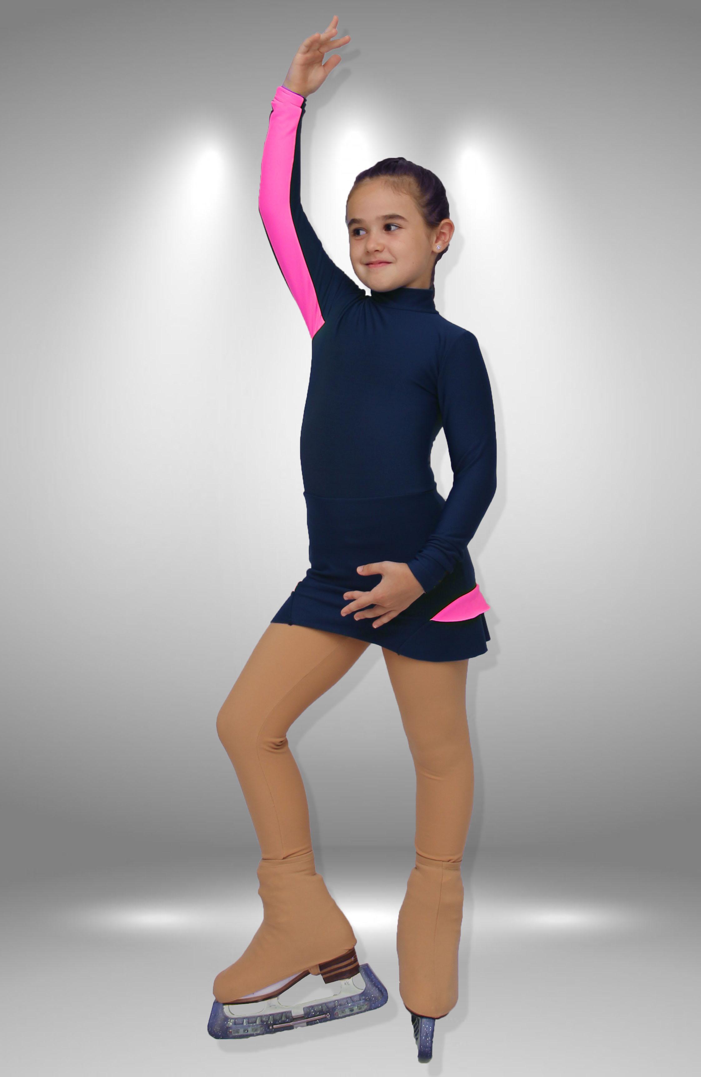 Термоплатье Шарм темно синие с розовым для фигурного катания